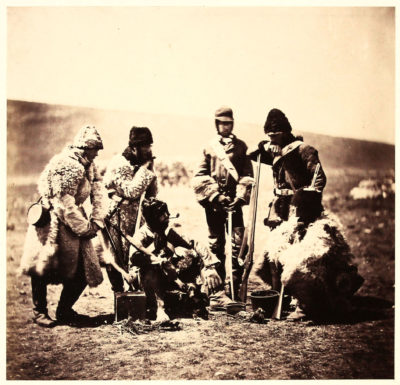 Roger Fenton. Captain Pechell and Men of the 77th Regiment, Winter Dress. c.1855.